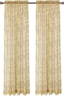 Pack Of 2, CaliTime French Script Faux Linen Soft Semi Sheers Rod Pocket  Window Curtain