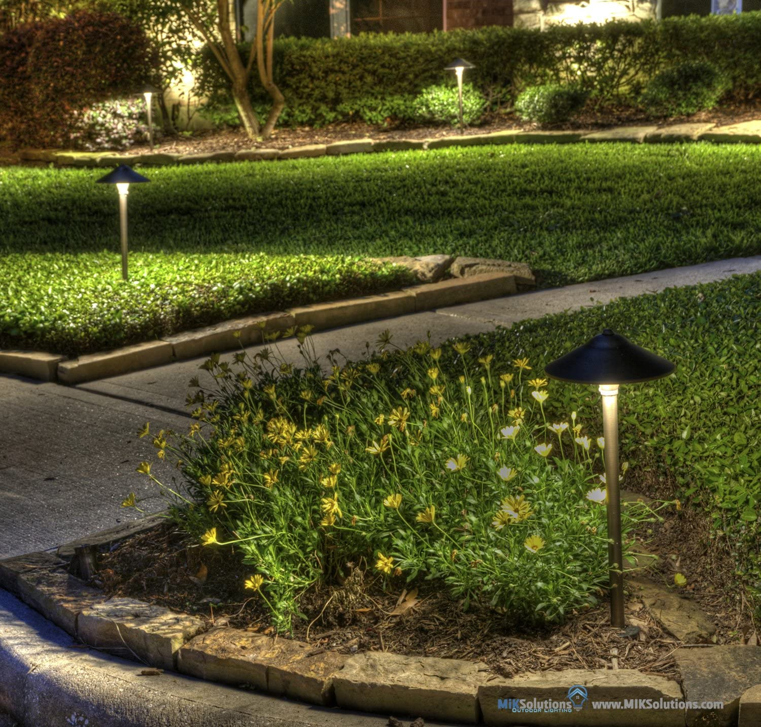 MIK Solutions Outdoor Lighting LED Pathway Landscape Light by MIK Solutions BULB 3W 12V Solid Brass Low Voltage LED Light Outdoor Mushroom Security Garden Patio Deck Pool Area Light for Beautiful Bright Long Lasting Warm White