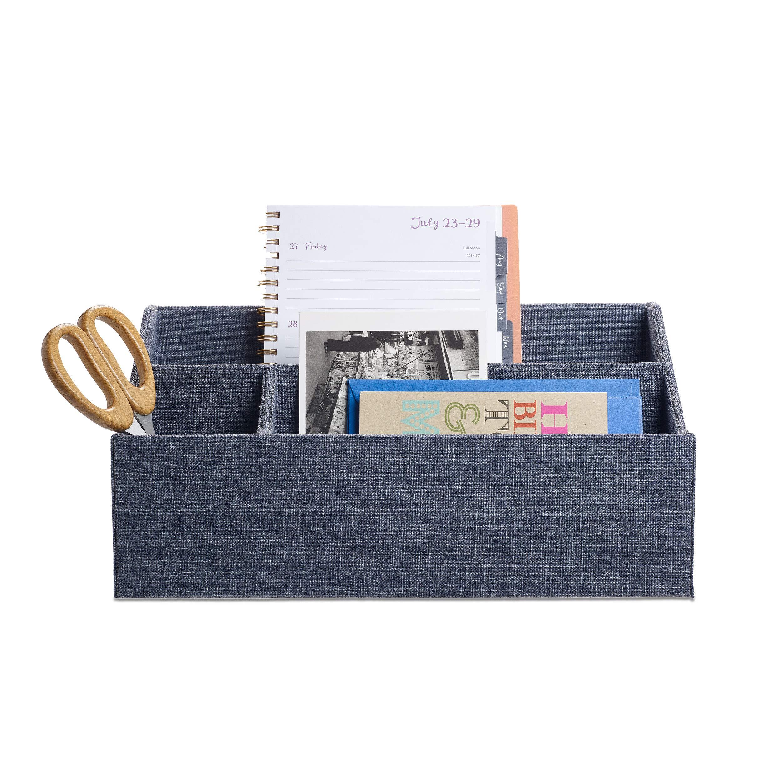 Design Ideas Indigo Desk Organizer, Denim Blue Jean Fabric Covered Paperboard Desktop Bin by Design Ideas