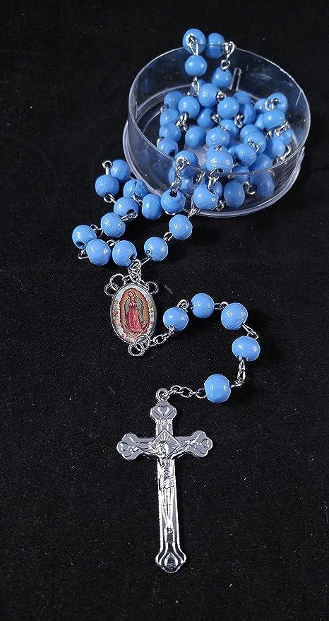 Virgen De Guadalupe, Rosarios Azules De Madera Para Recuerdos De Bautizo/Primera Comunion 12