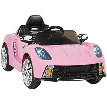 best choice products kids 12v ride on car with mp3 electric battery power pink