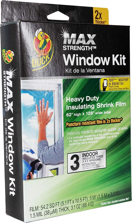 Duck MAX Strength Heavy Duty Insulating Film Window Kit, 3-Window, 62-Inch x 126-Inch, Indoor, 284351