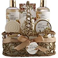 Home Spa Gift Basket - Honey & Almond Scent - Luxury Bath & Body Set For Women and Men - Contains Shower Gel, Bubble…