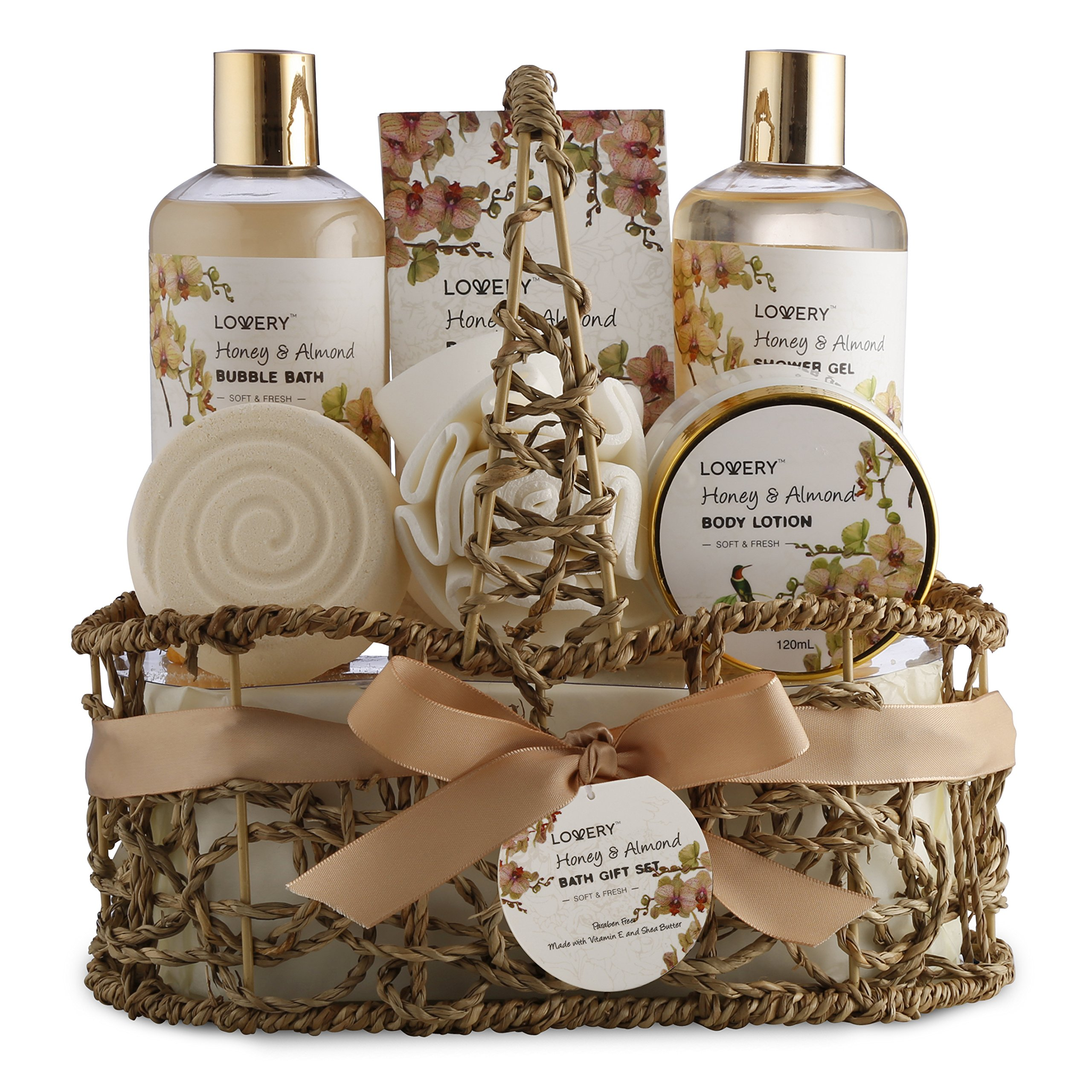 Home Spa Gift Basket - Honey & Almond Scent - Luxury Bath & Body Set For Women and Men - Contains Shower Gel, Bubble Bath, Body Lotion, Bath Salt, Bath Bomb, Puff & Handmade Weaved Basket by LOVERY