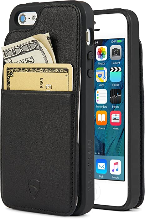 iPhone SE / 5S Walle Case, Vaultskin Eton Armour iPhone SE / 5S Case Wallet, Slim, Minimalist Genuine Leather Case - Holds up to 8 Cards/Top Grain Leather (Black)