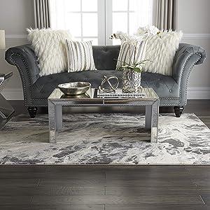 "Inspire Me Home Décor Elegance Grey and White Contemporary Area Rug 5'3"" X 7'3"", Multicolor"