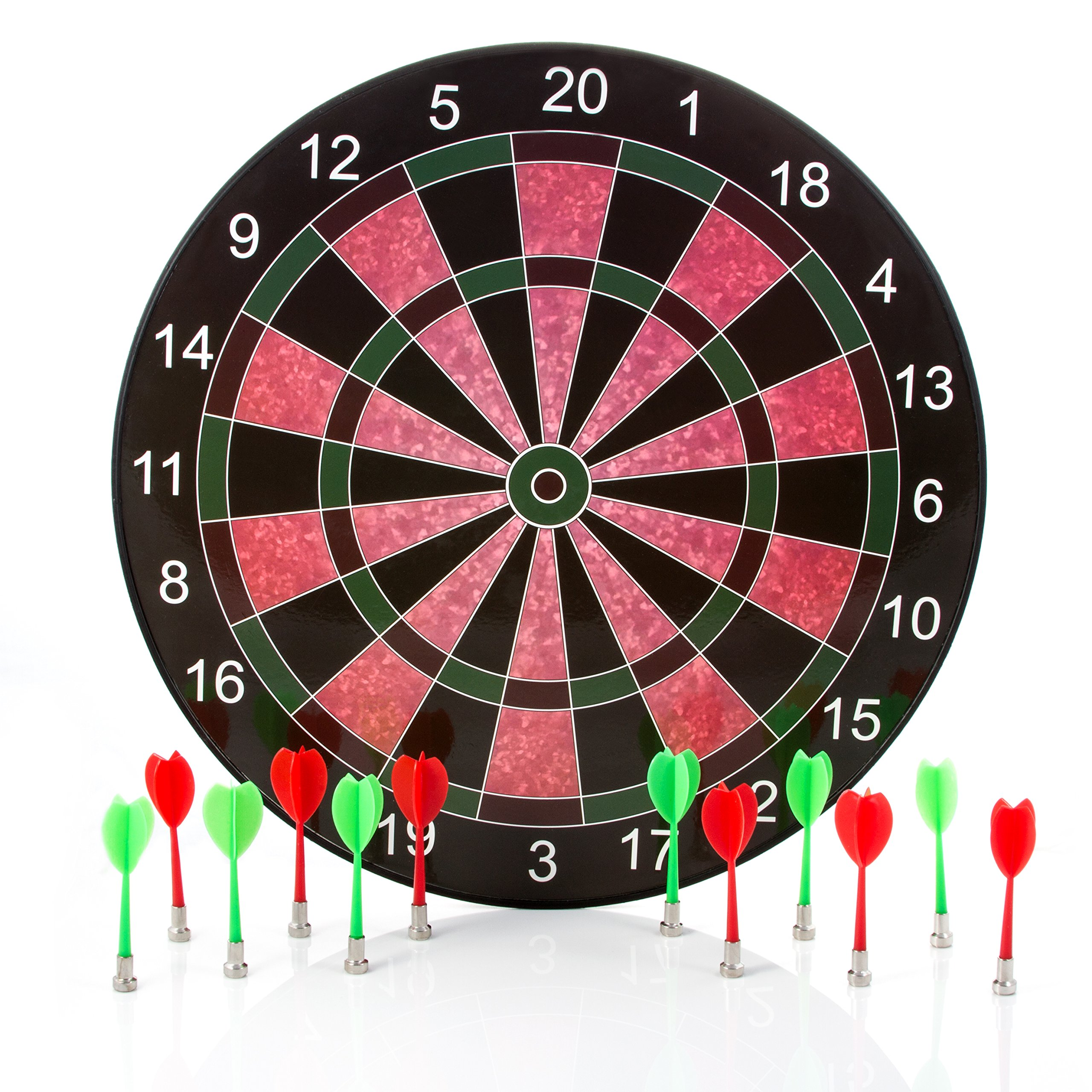 Harbre Magnetic Dart Board 16 Inch Size with 12 Darts 6 Green Darts and 6 Red Darts by Harbre