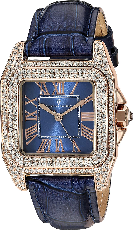 Christian Van Sant Women's Radieuse Quartz Leather Strap, Blue, 20 Casual Watch (Model: CV4427)