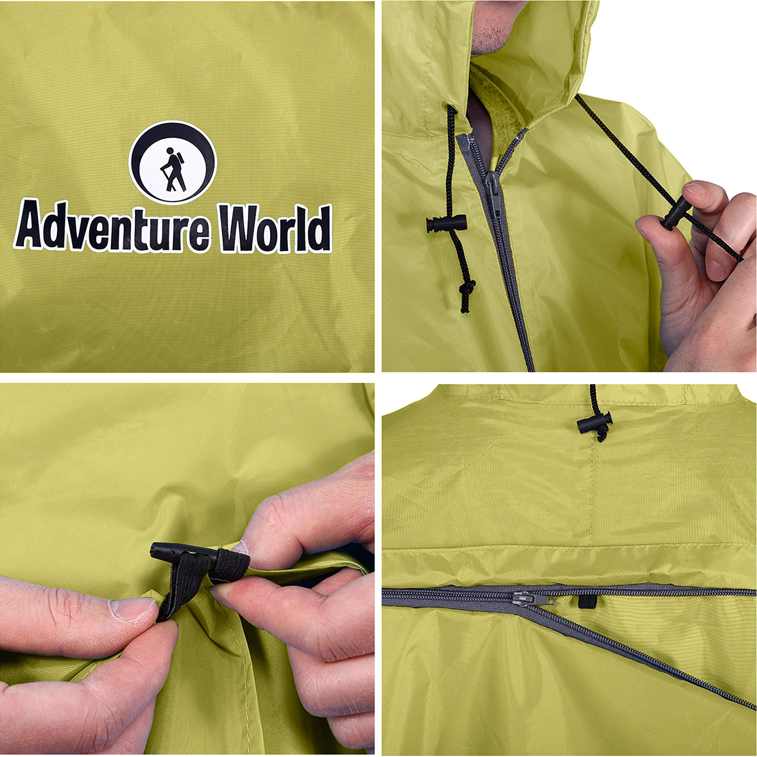 Adventure World Globotrekker Lightweight Backpack Poncho Multiple Color Options Available