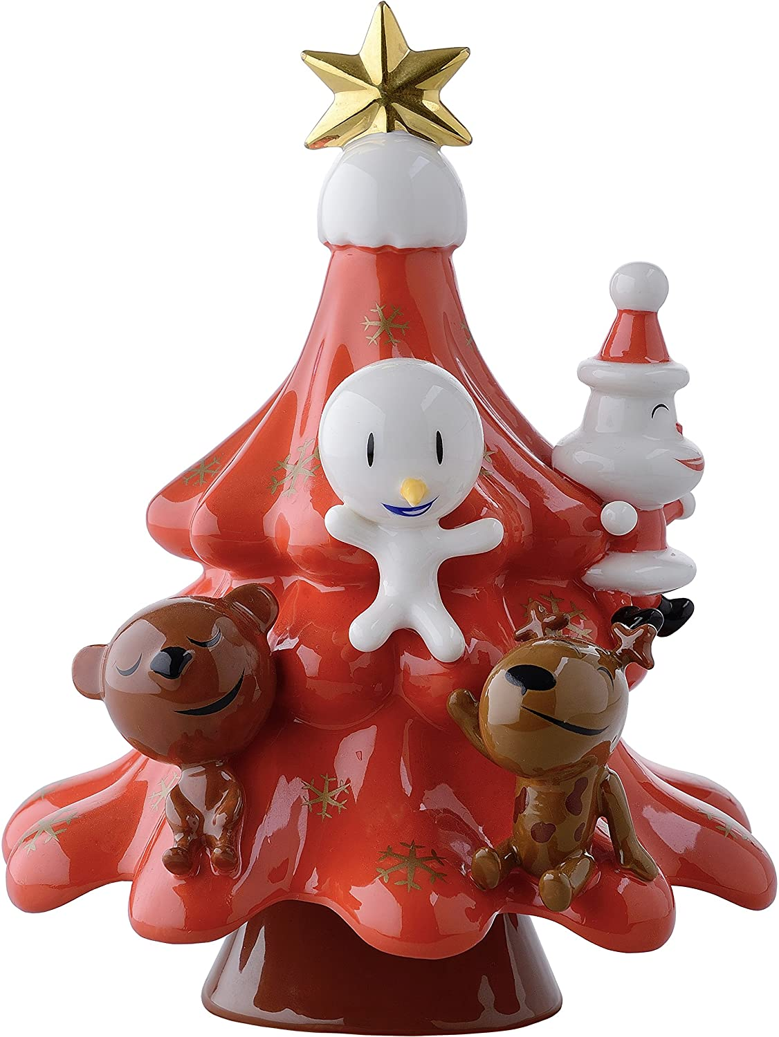 Alessi Porcelain Hand-Decorated Xmas Friends Christmas Ornament, Multi-Colour AMGI51