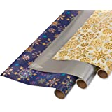 "PAPYRUS 6392769 ROLLWRAP 30"", 3-Roll, Jewel, Holographic And Metallic Snowflak"