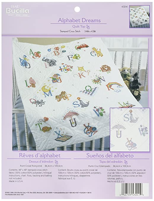 Amazon.com: Bucilla Stamped Cross Stitch Baby Quilt Top, 34 by 43 ...