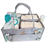 Diaper Caddy By Littlest Sweet: Nursery and Car Organizer, Changing Table Bag, Large Pockets And Compartments, Baby Diaper Stacker Bin, Also Used to Hold Snacks, Bottles, Bibs, Toys And Pacifiers