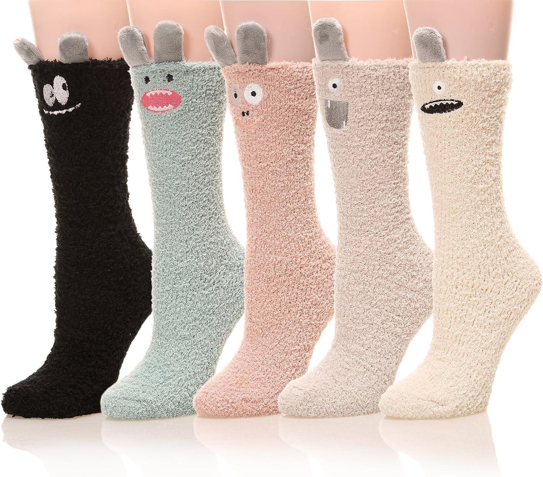 Womens Soft Cute Funny Animal Designe Microfiber Slipper Socks Cozy Fuzzy Winter Warm Socks