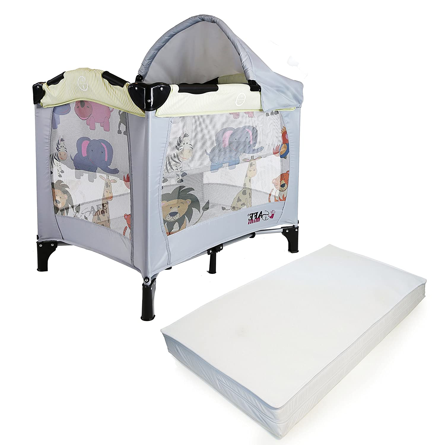 iSafe Mini Travel Cot With Bassinet And Canopy - Smiley And Cuddly 81 x 56 x 84 cm Complete With Mattress