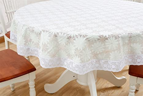 Genial Antexn PVC Floral Ivory Heavy Duty Fall Tablecloth With Wipeable Waterproof  And Oil Proof Plastic Tablecloth