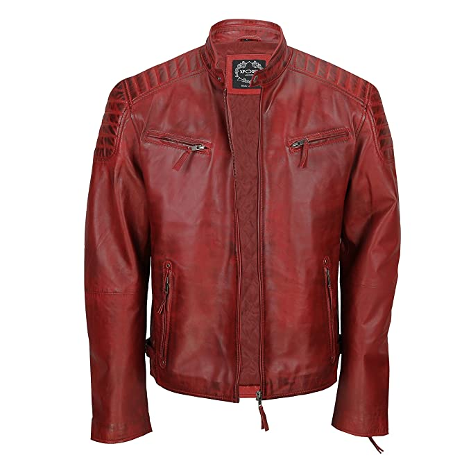 XPOSED Mens Real Soft Leather Slim Fit Black Tan Brown Urban Retro Zip Smart Casual Biker Jacket