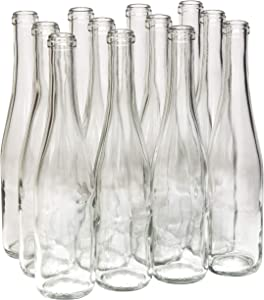 North Mountain Supply 375ml Glass Stretch Hock Wine Bottle Flat-Bottomed Cork Finish - Case of 12 (Clear/Flint)