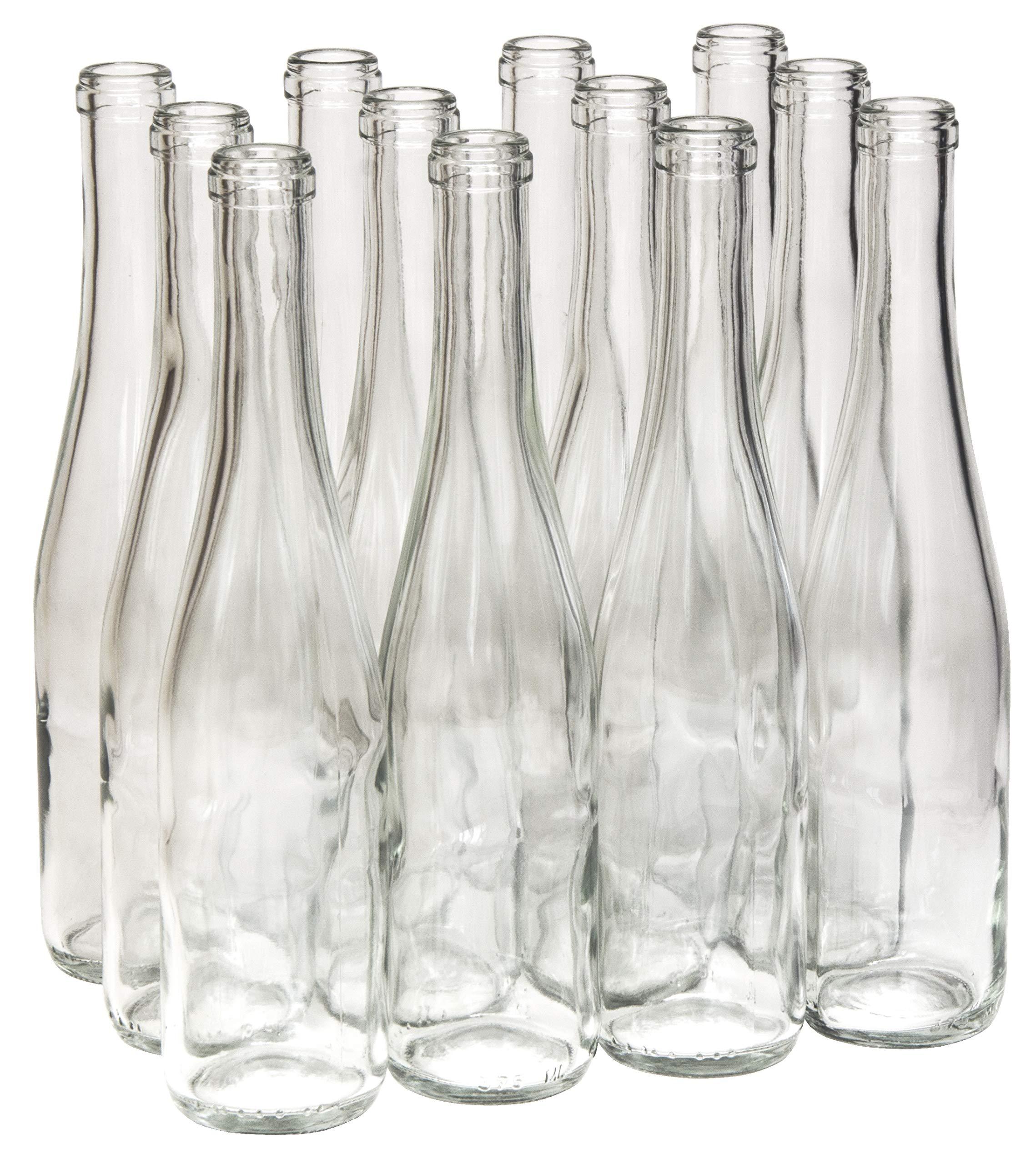 North Mountain Supply 375ml Clear/Flint Glass Stretch Hock Wine Bottle Flat-Bottomed Cork Finish - Case of 12 by North Mountain Supply