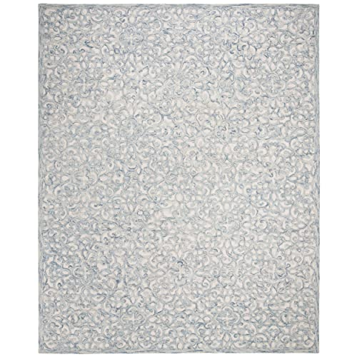 Safavieh Trace Collection Blue and Ivory Premium Wool Area Rug, 4 x 6 ,