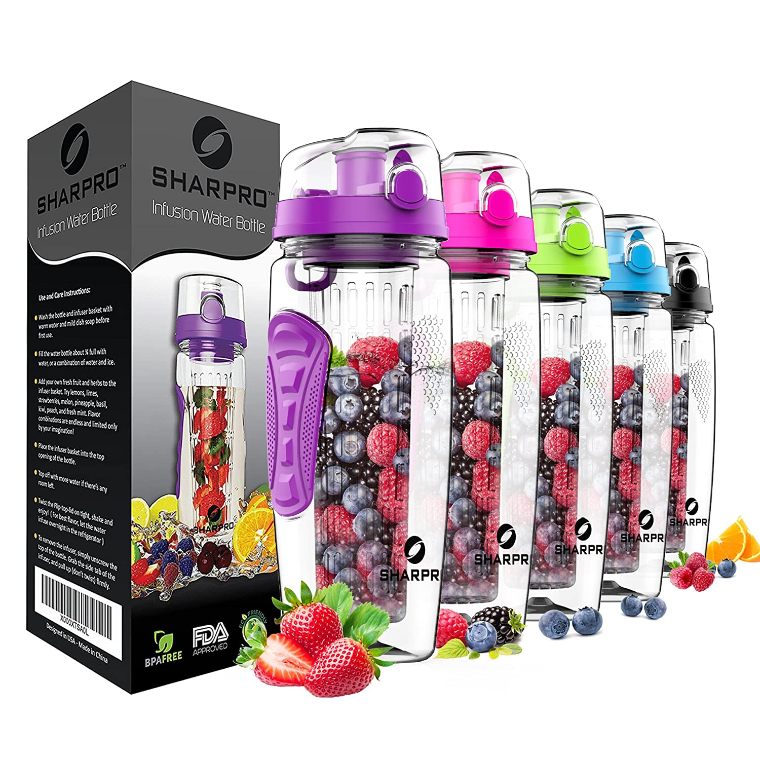 Sharpro 32 oz. Infuser Water Bottles