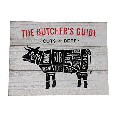 Gianna's Home Rustic Farmhouse Distressed Wood Plank Board Sign (Butcher's Guide)