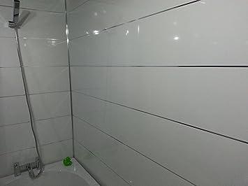 5 Weiß glänzend metallic Streifen PVC Badezimmer Verkleidungen ...