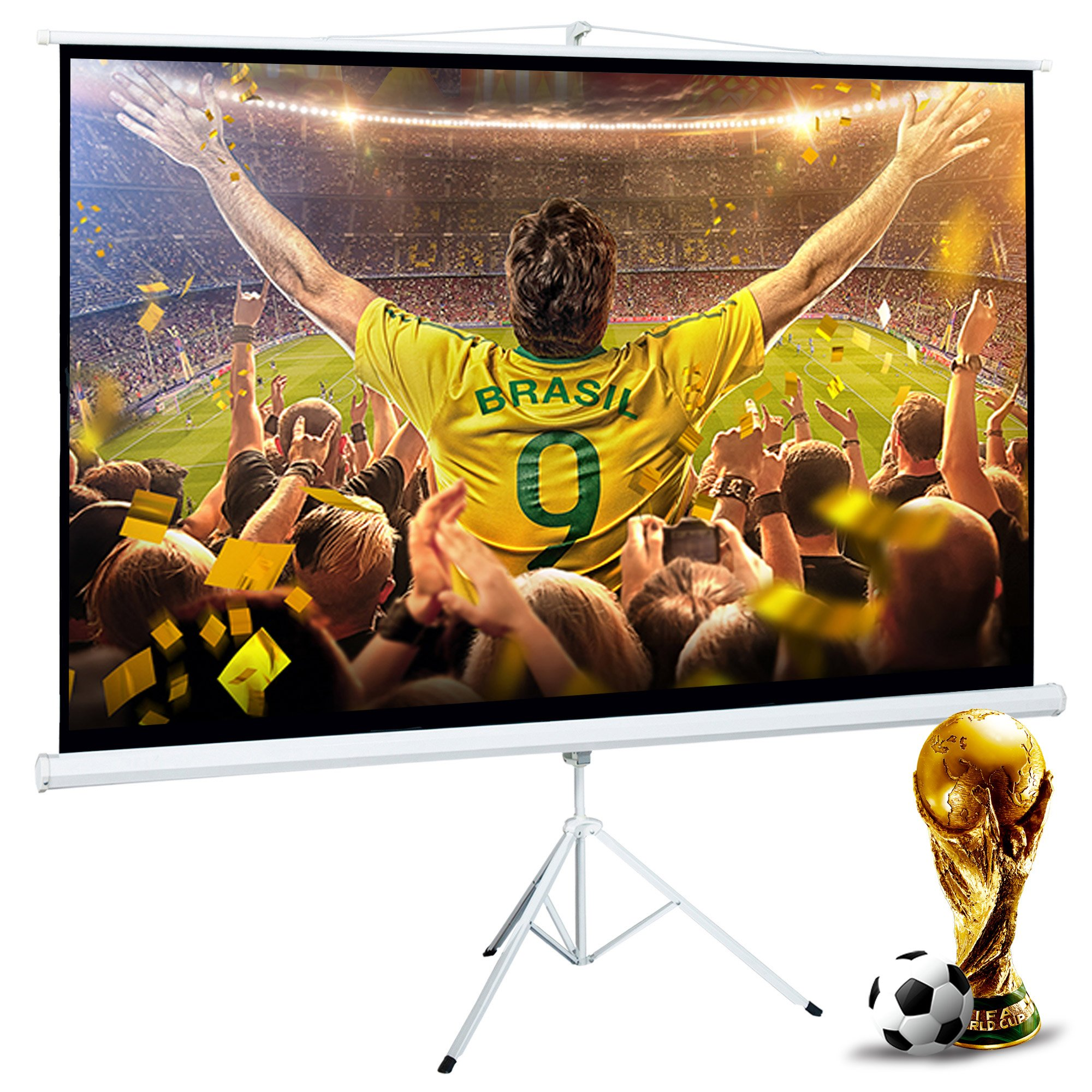 Cloud Mountain 100 Inch 16:9 Projector Screen with Stand Portable Indoor Outdoor Pull Up Tripod Stand Projection Screen for Home Theater Office School (Adjustable Aspect Ratio, 1.1 Gain, Matte White) by Cloud Mountain