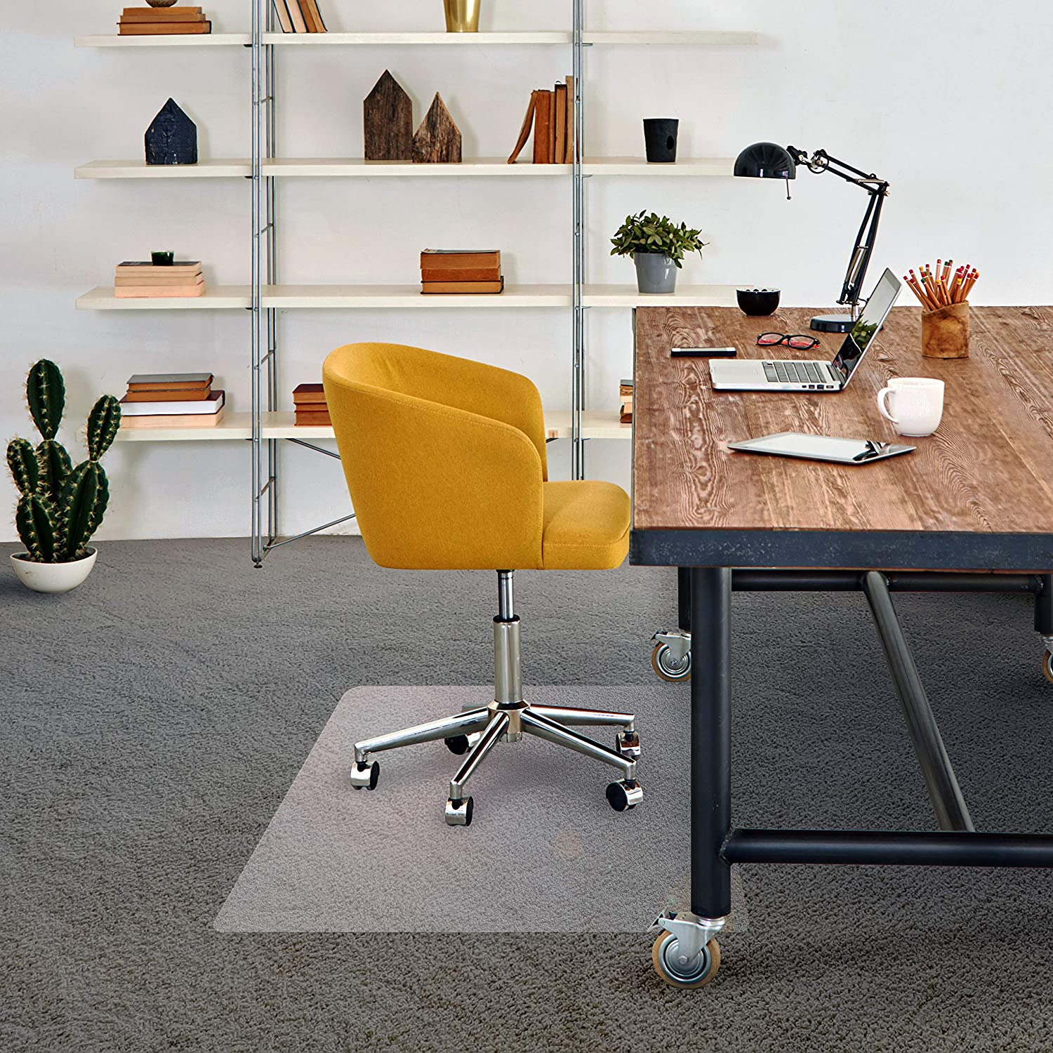 Amazon Com Floortex Basic Chair Mat 48 X 60 For Low Pile Carpets Office Desk Pads And Blotters Office Products