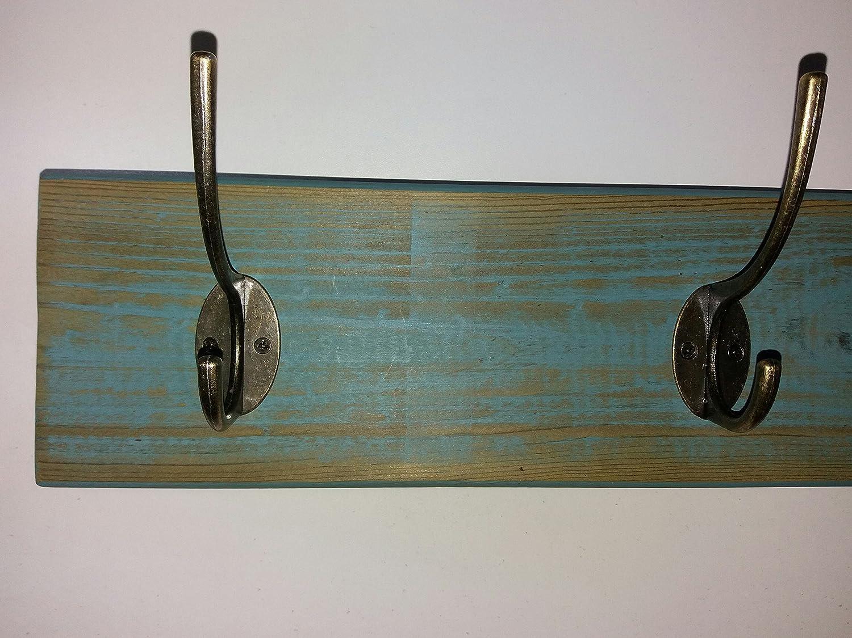 Perchero/percha de pared azul celeste con 3 colgadores ...
