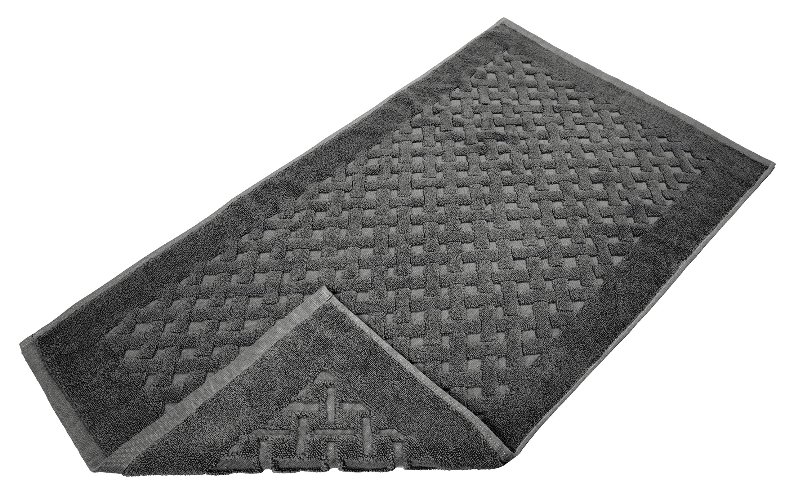 Protech Machine Washable 2-Pack Bath Mats, 100% Ring Spun Genuine Cotton, 900 GSM, Hotel & Spa Quality, Maximum Absorbency & Softness, Perfect for Decorative Bathrooms, 21x34 Inches, Dark Grey