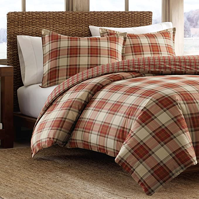 Amazon Com Eddie Bauer Home Edgewood Collection Duvet Cover Set 100 Cotton Reversible Bedding With Matching Shams Pre Shrunk Brushed For Extra Softness Full Queen Red Home Kitchen