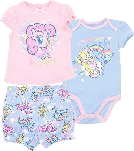 amazon com my little pony infant baby girls 3pc t shirt shorts