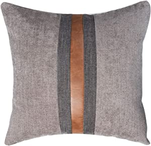 "CARLOTA Farmhouse Decorative Outdoor Throw Pillow Covers for Couch Sofa Bed Brown Faux Leather Accent Pillow Cover Modern Decor Pillow Case 18 x 18 Inch (Light Brown, 20""x20"")"