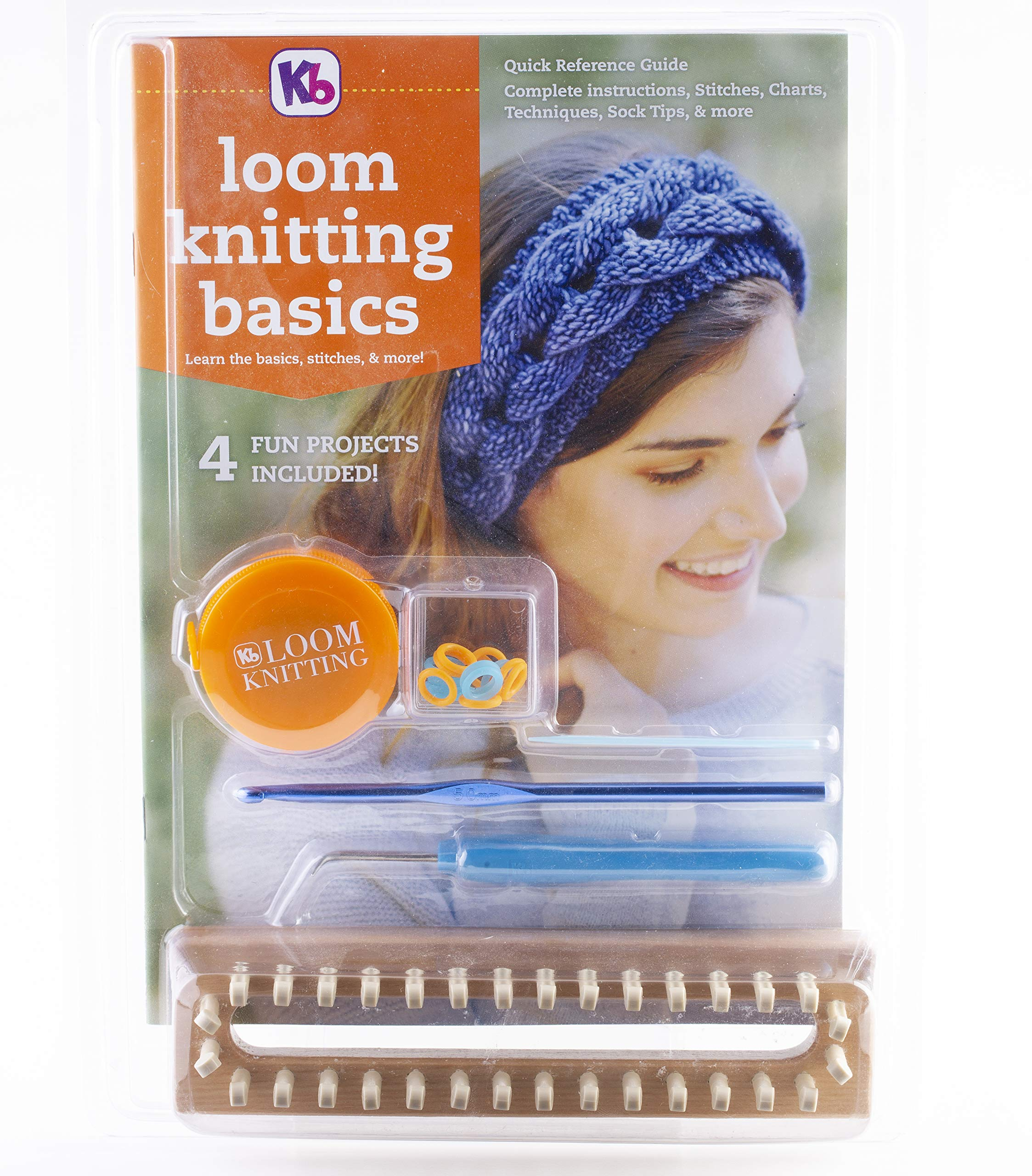 Authentic Knitting Board KB4518 Loom Knitting Reference Guide/Tool Kit with 32 peg Wood