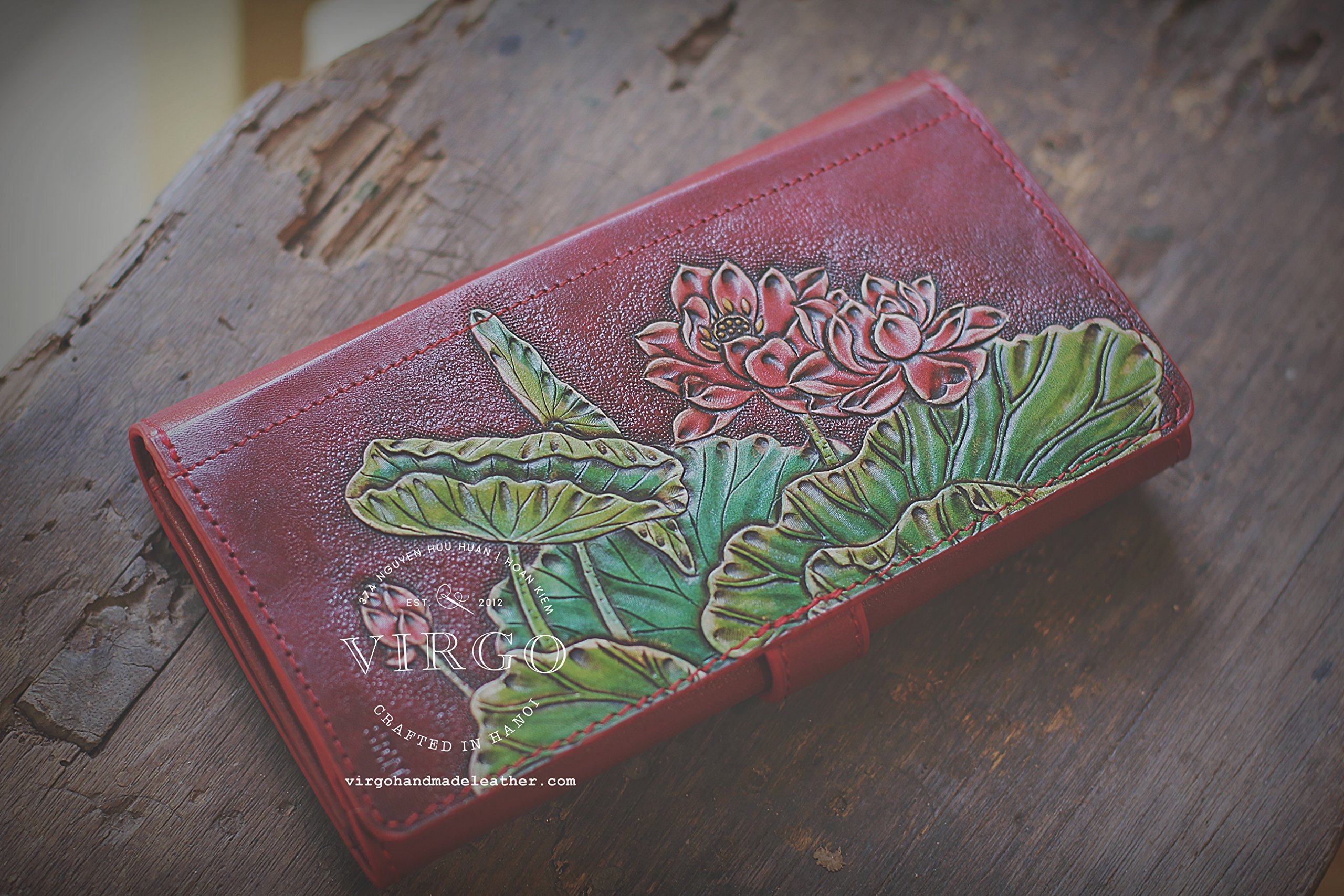 Red Lotus hand tooled wallet for women | Personalized Vintage vegetable tanned leather handmade wallet