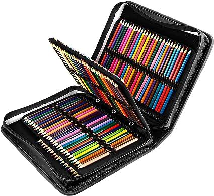YOUSHARES Estuche 180 ranuras de color lápiz caso tela de PU gran capacidad pluma/lápiz organizador con correa para lápices de acuarela, plumas de gel (Negro): Amazon.es: Oficina y papelería