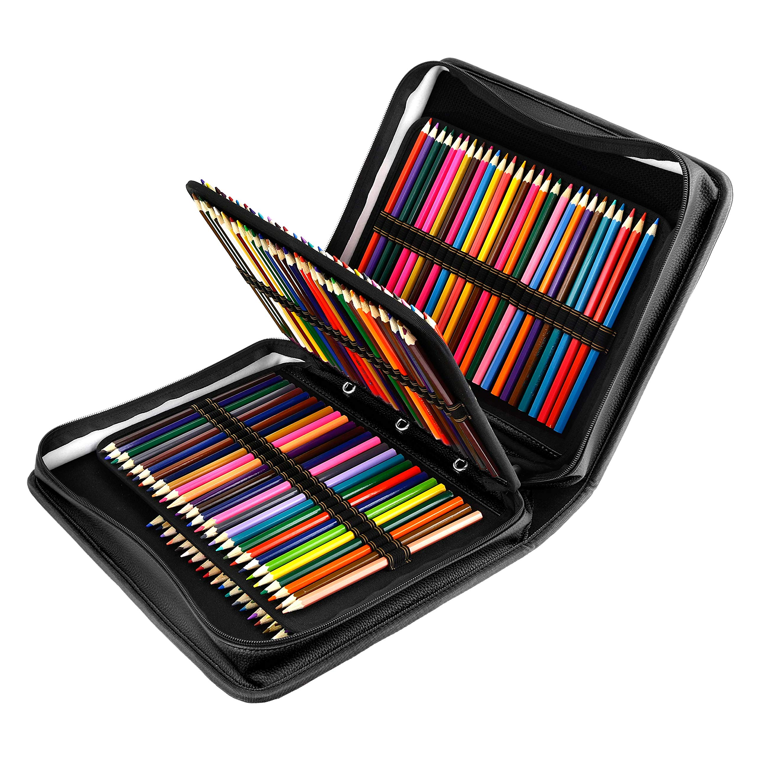 YOUSHARES 180 Slots PU Leather Colored Pencil Case - Large Capacity Carrying Case for Prismacolor Watercolor Pencils, Crayola Colored Pencils, Marco Pens, Gel Pens(Black) by YOUSHARES