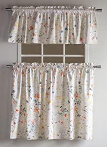 Maison d' Hermine Colmar 100% Cotton Kitchen Curtain Set - 2 Tiers (28 Inch by 36 Inch) and 1 Valance (58 Inch by 18 Inch)
