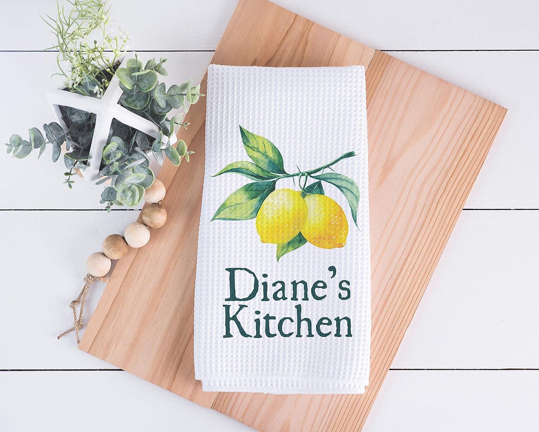 Lemon Kitchen Towel Housewarming Gift Personalized Kitchen Towel Housewarming Gift Personalized Dish Towel Custom Waffle Weave Dish Towel Wedding Gift