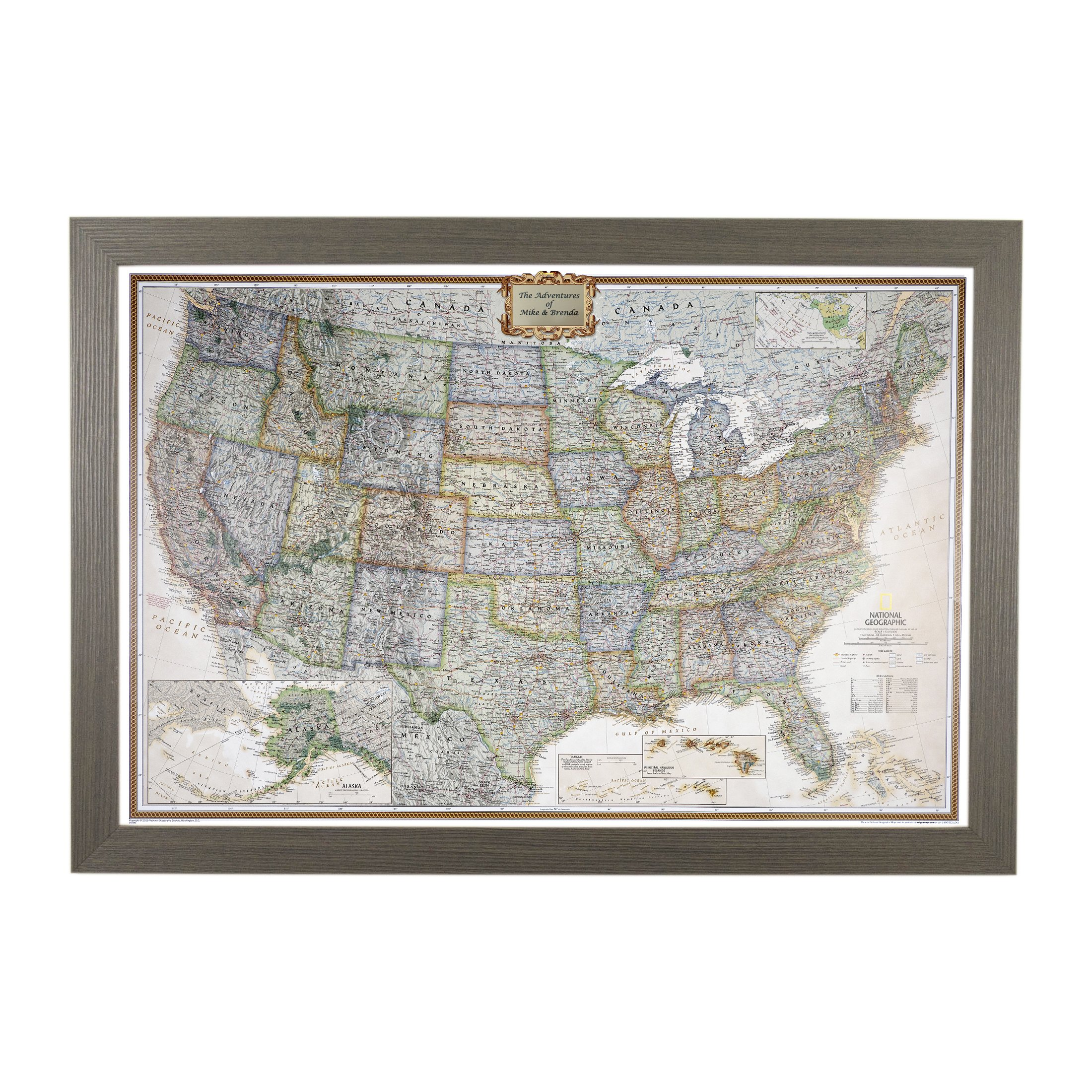 Personalized Executive US Push Pin Travel Map with Barnwood Gray Frame and Pins 24 x 36