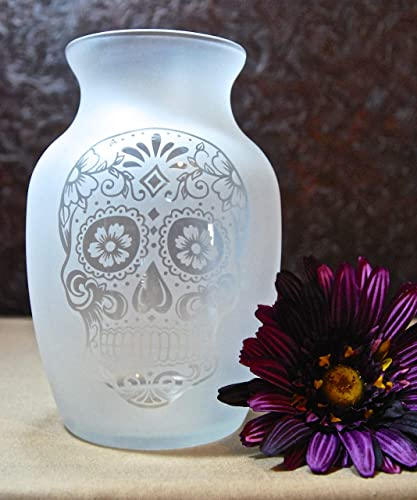7.5 Inch Glass Etched Sugar Skull Vase – Design 1
