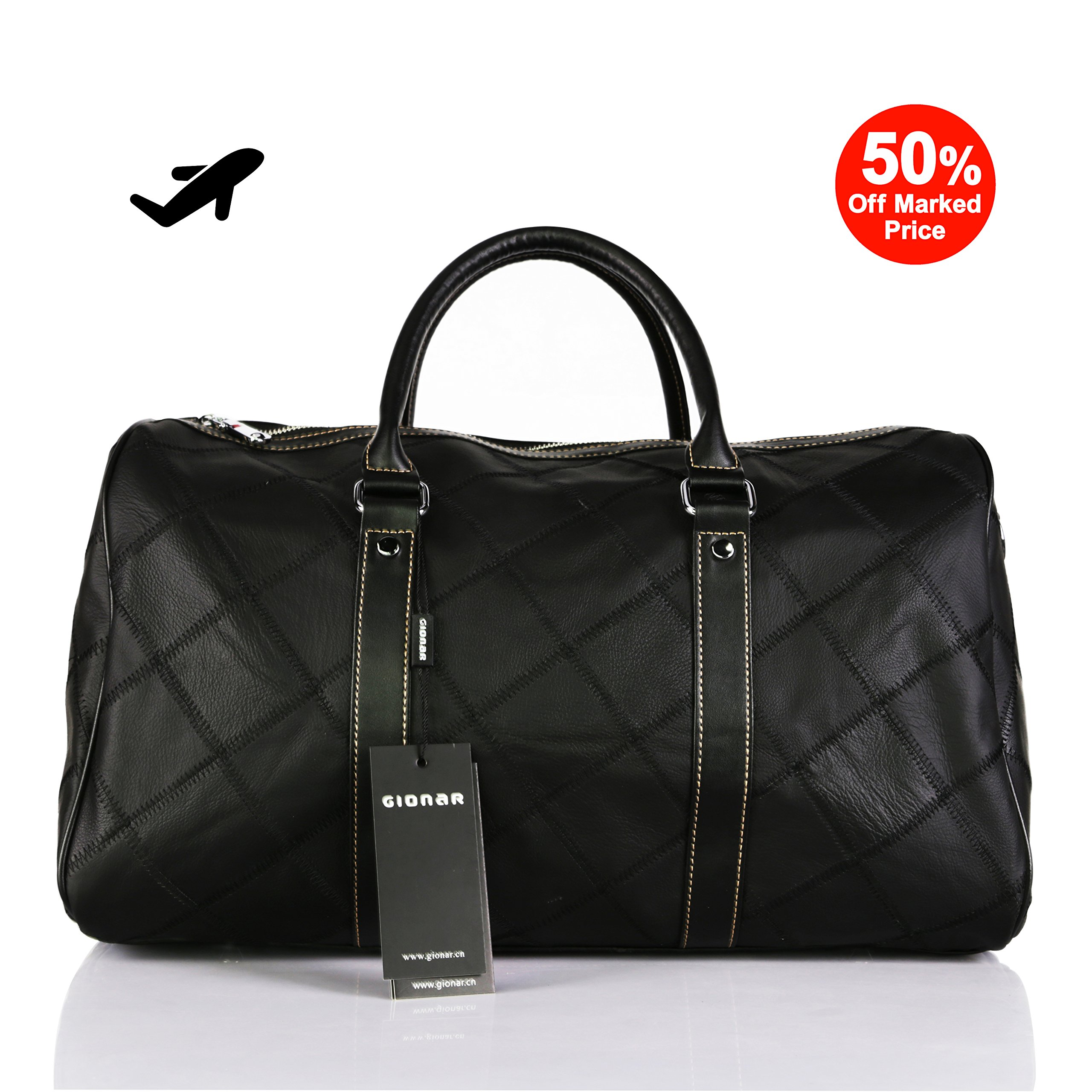Leather Travel Duffel Bag Weekender Overnight Carry On Luggage Luxurious Vintage Leather Perfect Fit to Airplane Underseat (Black)