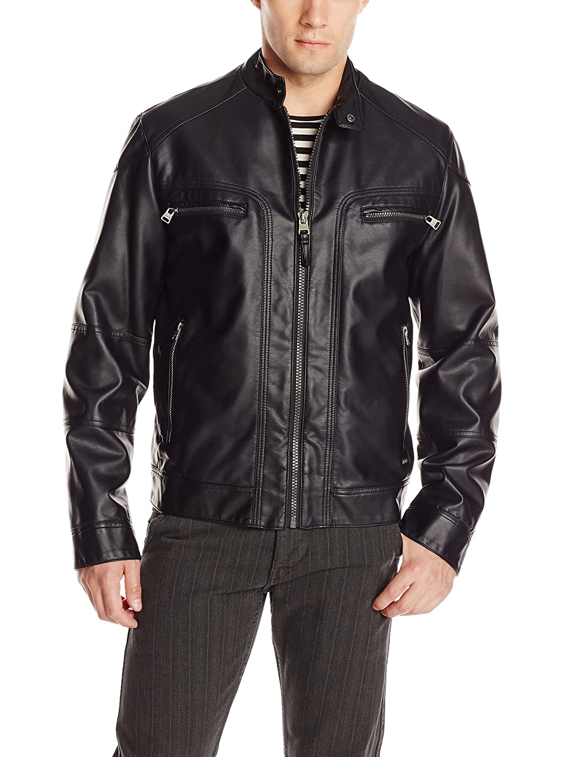 Leather jacket and hoodie - Calvin Klein Men S Faux Leather Moto Jacket With Hoodie At Amazon Men S Clothing Store