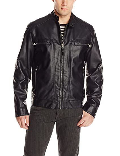 fa354d0c1 Calvin Klein Men's Faux-Leather Moto Jacket with Hoodie