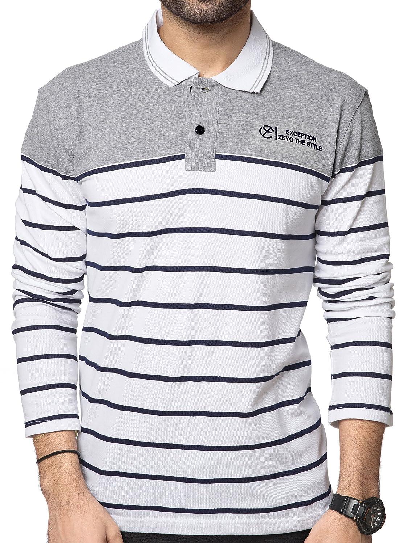 6bd95f30 ZEYO Men's Cotton Striped White Polo Tshirt Full Sleeve: Amazon.in: Clothing  & Accessories