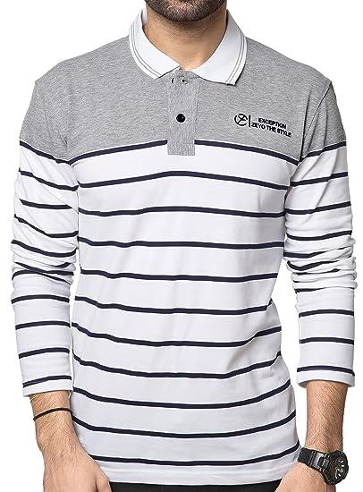 b06aac8d2 ZEYO Men s Cotton Striped White Polo Tshirt Full Sleeve  Amazon.in ...