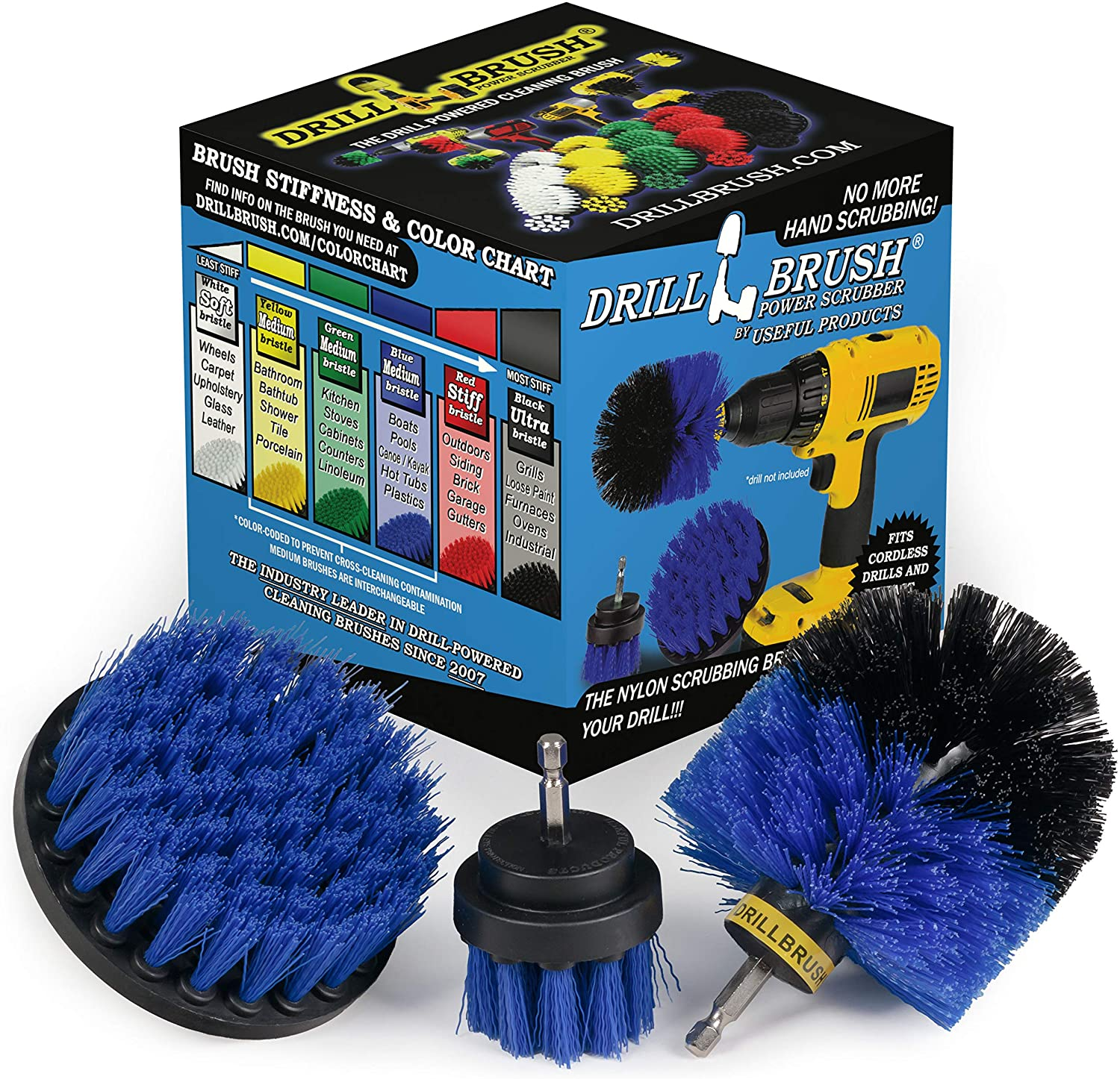 Drill Brush Power Scrubber by Useful Products Drill Brush Boat Accessories – Kayak Cleaning Kit – Boat Drill Brush Set - Marine Scrub Brush Attachment for Drill - Rotary Cleaning Brushes for Boats: Kitchen & Dining