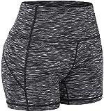 "QUEENIEKE 4.5"" Inseam High Waist Tummy Control Yoga Train Running Shorts(XS, Space Dye Black)"