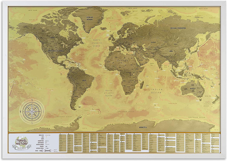 Mapa del mundo enmarcado con fotos, mapa detallado con banderas: Amazon.es: Hogar